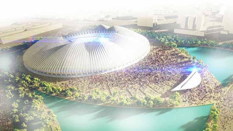 伦敦Weston Williamson建筑事务所赢得了为巴西利亚体育场设计竞赛的优胜。设计方案是一座随风向和阳光照射发生形状变化的花朵型建筑。设计竞赛要求设计一座容纳7万人的体育场,获胜方案是一座环形结构,外形如同飞行中鸟类的翅膀。建筑生动别致的外观由一系列羽毛形成分构成。每根羽毛都能够独立运动,适应天气和光线的变化,同时在大型仪式活动中创造壮观的景象。设计师表示,通过引入一种不断变化的几何形式,我们设计的场馆外形反映出巴西利亚乌托邦精神灵魂。因此,体育场没有固定的特性,而是随着景观条件的改变而变化。