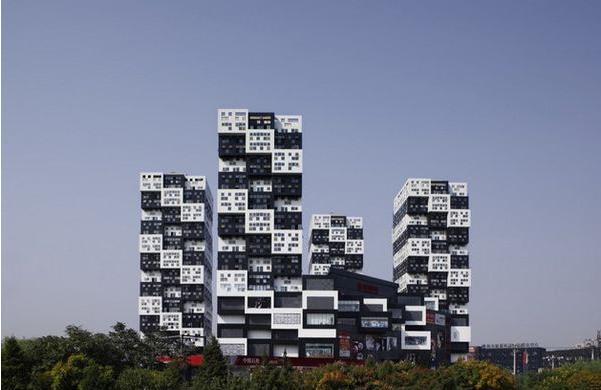 黑白手绘建筑立面