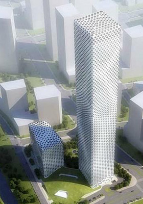 其次,由于蜂巢状部结构起到大楼支撑物的作用,意味着大楼内部不需要