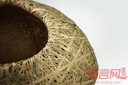 竹子编织网'建筑