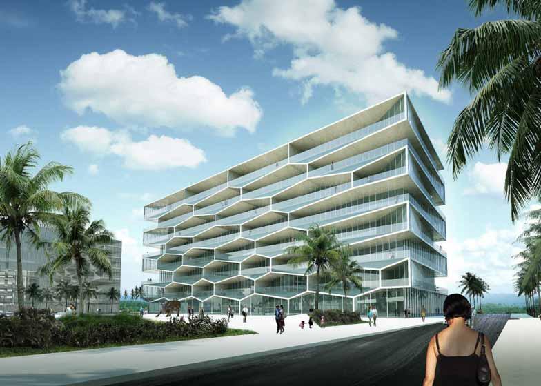 """丹麦BIG建筑事务所设计了位于巴哈马的蜂巢公寓楼。项目每套公寓阳台均带有泳池。项目是一座八层住宅楼,位于新普罗维登斯岛南海岸,将成为Albany社区最高建筑。蜂巢外立面将成为建筑的南侧""""门面""""。阳台外沿是六边形,内含下沉式泳池,玻璃栏杆向外是小船坞。设计主要意图是突出Albany丰富的自然资源,譬如景观、海洋和阳光。蜂巢形外立面在功能上对泳池起到支撑,使之沉入露台地面,不仅提供了摄人心魄的风景,同时保证住户的私密性。"""