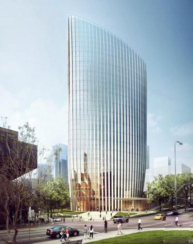 建筑的外形是根据扭转了的城市网格而设计的,也是对南加州气候和太阳