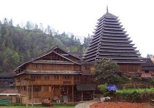 侗族建筑矢量图