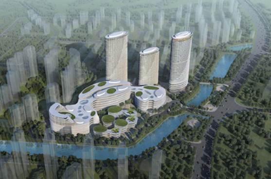 青岛太平洋时代梦广场高层建筑群设计效果图