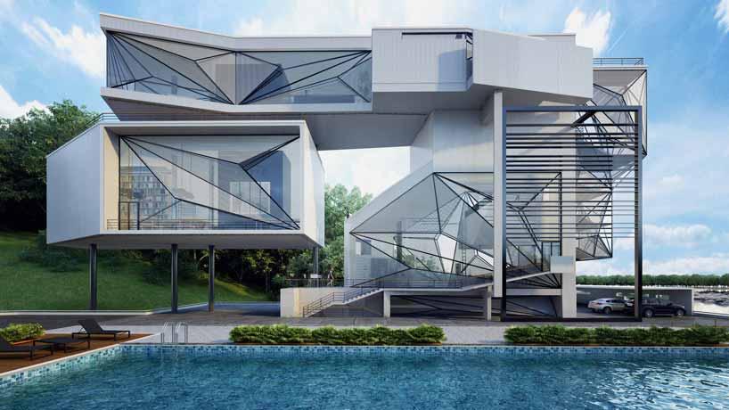 """Urban Office建筑事务所设计了纽约""""飞行员""""别墅,该项目旨在将飞行概念作为建筑设计中的催化剂。住宅业主是一位退休飞行员,设计方案如同一系列拆卸飞机元件的组合,在所有方向展露出飞机机身的形象。住宅一侧是小湖泊,外形倒影在湖面和泳池水面上,形同悬浮在两个水面之间的一座建筑物,周围只有空气支撑。建筑采用垂直延展和悬臂设计,朝向设计保证最大程度的自然光照,玻璃镶嵌在金属铆接窗框上,外层设有金属穿孔板。这些特定元素仿制了云朵材质,减少了光照辐射,投射出沉静的阴影。"""