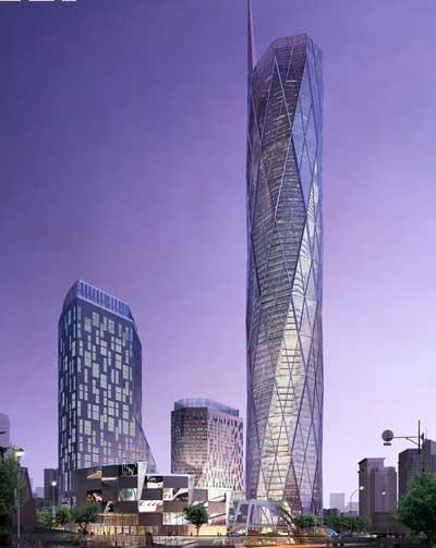 高楼大厦背景素材紫色
