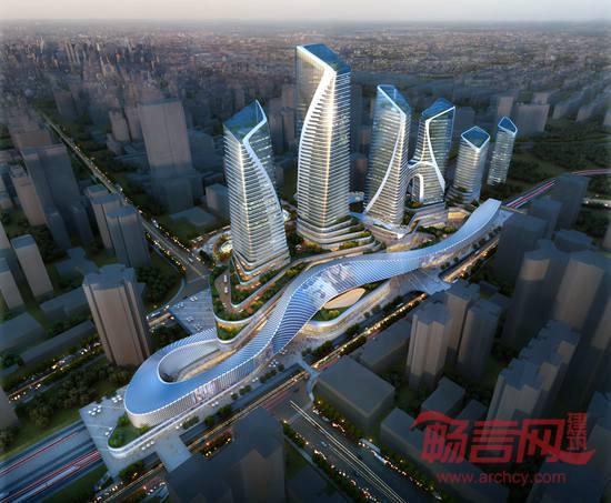 项目简介 该项目设计面积50万平米,灵感源于重庆山城理念,超高层塔楼群像一组自然生长的山脉,层层叠叠形成丰富的天际线,商业裙房由一条流畅连续的表皮,连绵起伏形成立体的商业空间。商业一、二层结合高铁出发站房,以非目的性人群为主的中端零售,形成自由集散穿行的街区式商业。三层以上为商业Mall,以目的性人群为主的高端定向商业,通过天梯到达顶层天街,形成自上而下的商业流线。