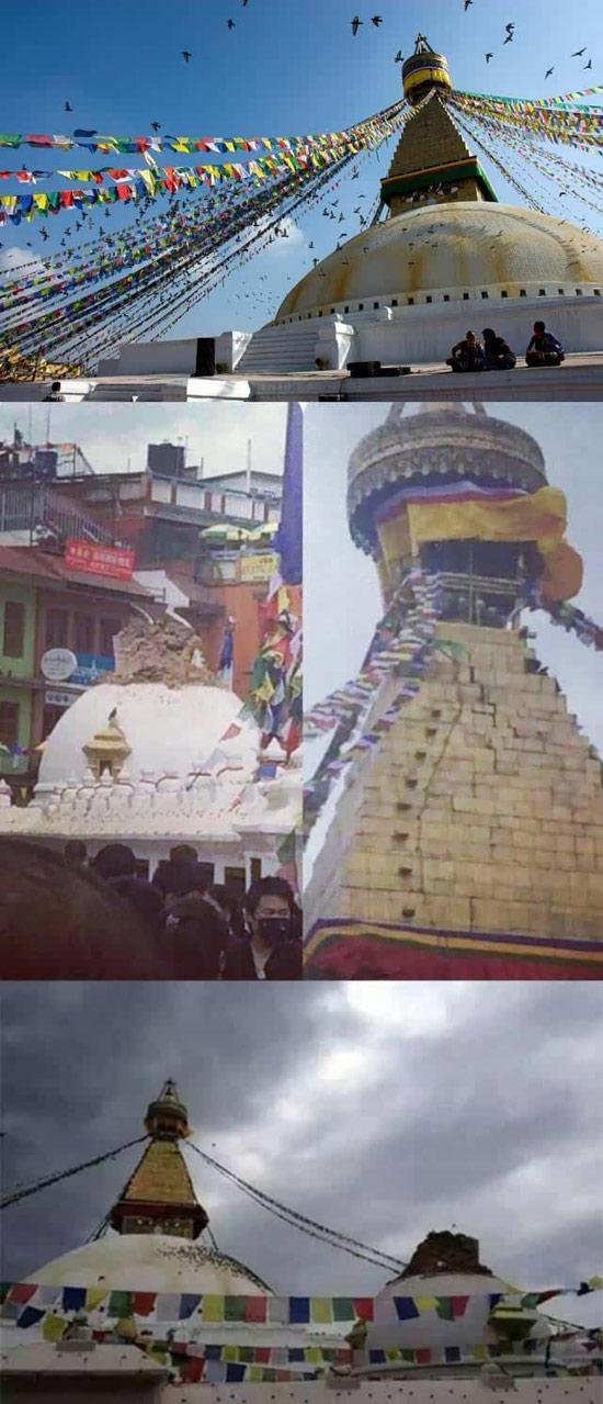 博大哈佛塔(博大哈/佛塔,跟常春藤没有任何关系)是亚洲乃至世界最大的覆钵体半圆形佛塔。塔高38米,周长100米。它是一个放大版的跟斯瓦扬布纳特寺,塔身四面绘有佛的眼睛,即慧眼,意味着佛陀无所不见。  佛塔位于古代西藏与加德满都谷地通商的要道上,数千年来,西藏商人在这里歇脚、祈祷,使得这一带成为尼泊尔藏传佛教的重要圣地。据说塔中藏有禅宗第一祖师迦叶佛的舍利。 博大哈佛塔在这次地震中顶部开裂,周围小佛塔部分坍。