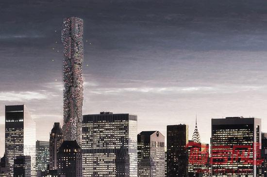 """设计师Hadeel Ayed Mohammad, Yifeng Zhao and Chengda Zhu提出了一座位于纽约曼哈顿中心的摩天大楼设计方案,该大楼将用作无人机控制站,可用来停放无人机和为无人机充电。  大楼别名为""""蜂巢"""",有望成为西半球最高的住宅大楼。近年来,无人机技术已成为各领域的领先趋势,涵盖了航拍地图和电影拍摄等多个领域。许多大型公司,比如亚马逊、DHL和沃尔玛已经开始研究如何使用无人机作为速递工具。然而,目前存在许多禁飞区,而且空管规定无人机使用者必须随时保持"""