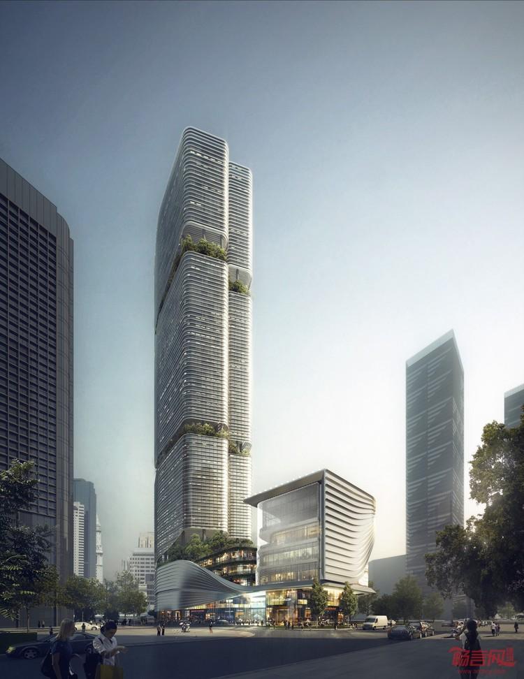 建筑设计     200米超高层塔楼的建筑造型源自中国
