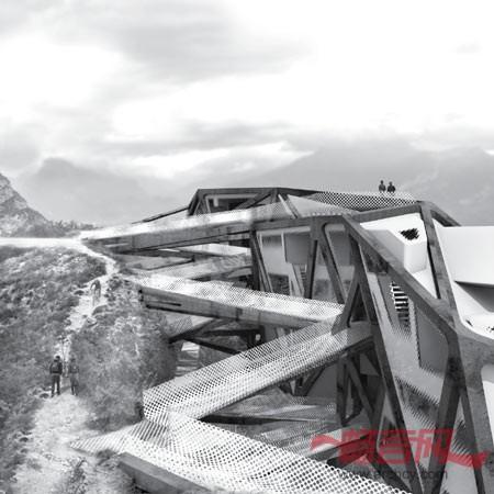 而每个入口路线之间的角度随着山地的自然曲线和垂直方向上建筑与山地图片