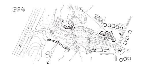 小区喷泉手绘线稿图