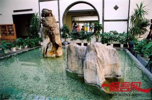 中式中庭电视背景