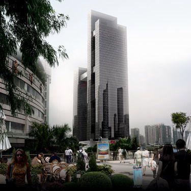 建筑物结构形式为框架筒体结构及框架结构