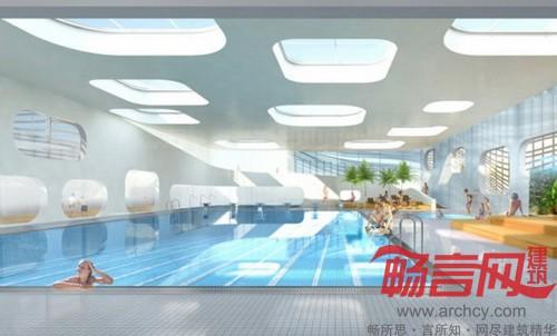 法国:有绿色透光屋顶的游泳馆