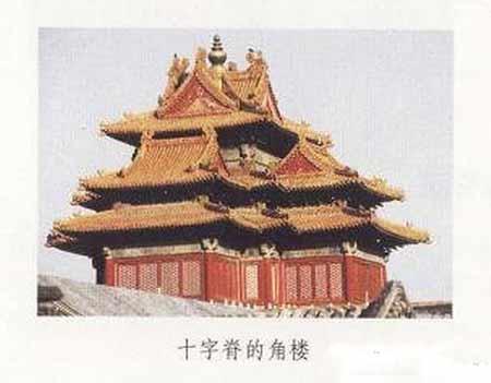 十字脊式屋顶 十字脊,也是一种非常特别的屋顶形式,它是由两个歇山顶呈十字相交而成。目前留存的比较有代表性的十字脊建筑是北京明清紫禁城的角楼。  十字脊的角楼 角楼因建于城角而得名,主要的作用是瞭望和警卫。北京紫禁城四角的城墙上各建有一座角楼,平面呈曲尺形,高四层,三重檐十字脊,顶部装饰鎏金宝顶,脊上有大吻合神兽。楼体四面各建一突出的抱厦,其中位于角楼外侧、城墙角上的两面抱厦的进深比对准城墙延伸方向的两面浅,形成了一个不对称的十字折角。使角楼的屋顶造型优美,具有特别的艺术效果。  宫殿建筑上的吻 吻,也称正