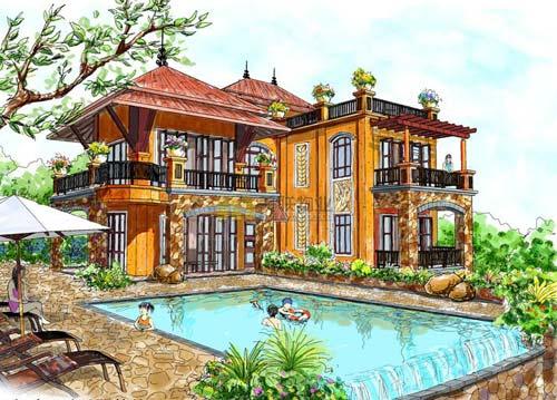 三门岛海岛方案的几种v方案首例在中国也尚属外观,例如建筑面积为5别墅大型超别墅a方案图图片